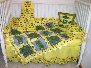 SET MADE/W JOHN DEERE TRACTORS YELLOW CHECK FABRIC *PRAIRIE POINTS