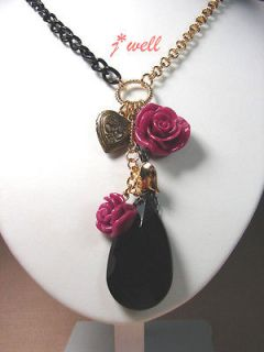 Newly listed Betsey Johnson Black Waterdrop Openable Love Heart w/Red