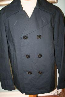 NEW Burberry Brit Navy Blue Raincoat Jacket Trench Pea Coat Mens XL L