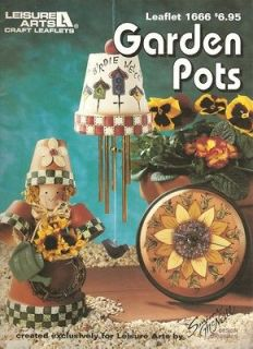 Leisure Arts Garden Pots Tole Painting Instruction Book
