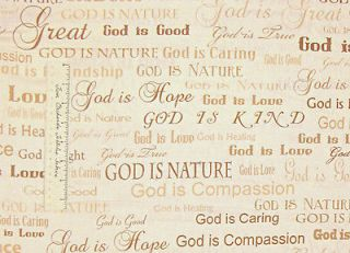 God Is Love Religious Christian Cream Timeless Treasures Cotton Fabric