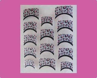 PINK, BLACK, SILVER ANIMAL GLITTER French Manicure Nail Art Stickers