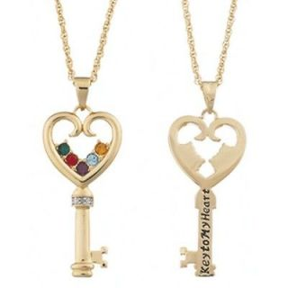 Personalized Mothers Family Key Heart Birthstone Necklace   Silver or