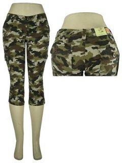 SEXY camouflage SKINNY CAMO CARGO CAPRI PANTS stretch low rise NEW 5