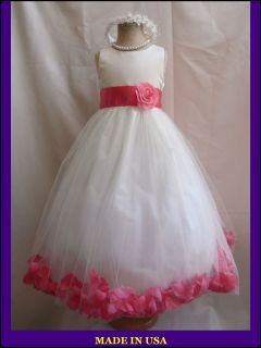 IVORY CORAL BABY PAGEANT BRIDAL PARTY FLOWER GIRL DRESS SM L XL 2 4 6
