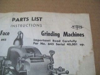 Sioux #645 Valve Seat Grinder Parts List, Fresh Copy of
