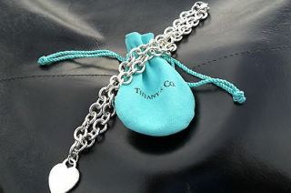 TIFFANY & CO. SILVER NECKLACE WITH HEART PENDANT 16 INCHES LONG