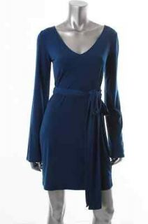 Famous Catalog Moda NEW Blue Bell Sleeve V Neck Belted Wear to Work