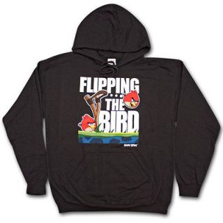 Angry Birds Flippin The Bird Black Graphic Hoodie Pullover