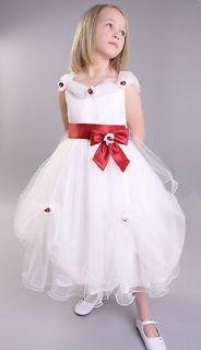 Robe bouton de rose blanche fille enfant dhonneur mariage bal