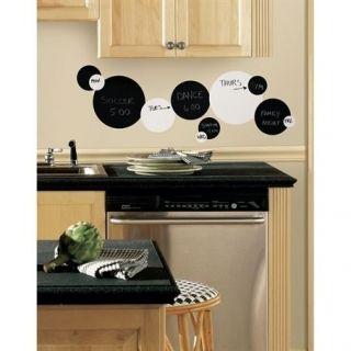 Black & White Chalkboard & Dry Erase Polka Dots 31 circles decals