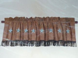 Western Decor Brown Blue Star Valance Window Treatment Curtain 84 x 18