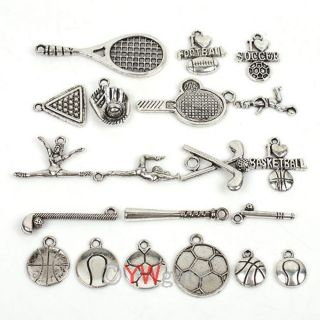 30pcs Mixed Sports Style Tibetan Silver Alloy Charm Bead Pendants