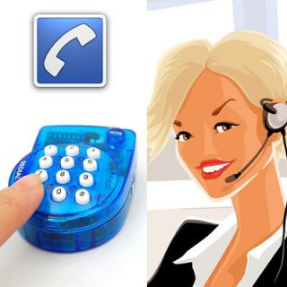 Blue Portable Mini Telephone For Trip With Microphone Headset Hook