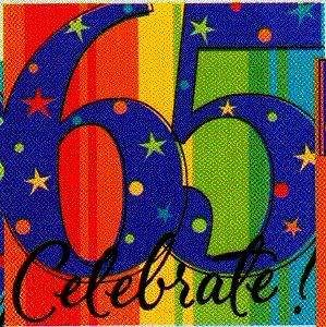 Milestone 65th Birthday Beverage Napkins 16ct Party Supplies