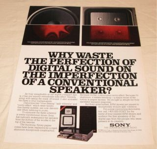 Vintage Sony Stereo Speakers PRINT AD from 1984