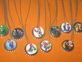 mario luigi bowser bottlecap ball chain necklace party favors lot of