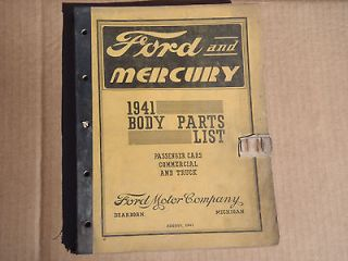 1941 Ford & Mercury Body Parts Manual List Catalog Car & Truck
