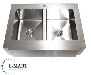 Stainless Steel Flat Front Farm Apron Double 50/50 Bowl Kitchen Sink