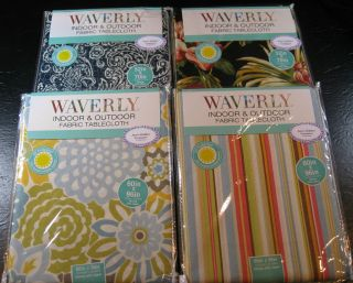 WAVERLY INDOOR & OUTDOOR FABRIC TABLECLOTHS AS ST. PATTERNS & SIZES