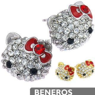 Cute Hello Kitty Stud Earrings Red Bow with Swarovski Crystals Silver