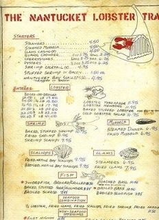 Warrens Lobster House Menu Wine List Placemat Kittery Maine