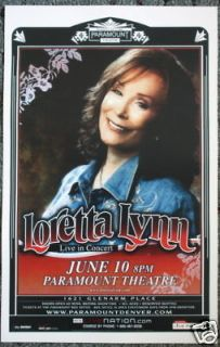 LORETTA LYNN promotional CONCERT POSTER collectible
