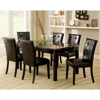 Boulder Espresso Finish Faux Marble Table Top Dining Set