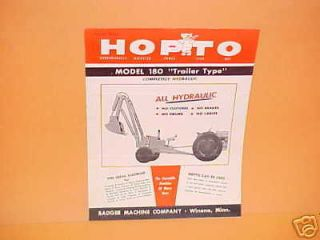1954 BADGER HOPTO 180 TRAILER EXCAVATOR BROCHURE BOOK