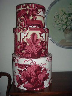 1890s Victorian Wallpaper Covered Nesting New Hat Boxes Bandbox