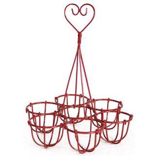 Lovely Shabby Chic Red Wire Egg Holder, Egg Storage, brand new