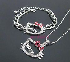 2pc HELLO KITTY Crystal Red Bow KITTY Letter Necklace Bracelet Set