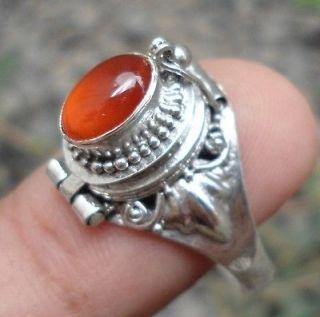 925 Sterling Silver Balinese box Locket Ring w Carnelian Cab Size 6,7