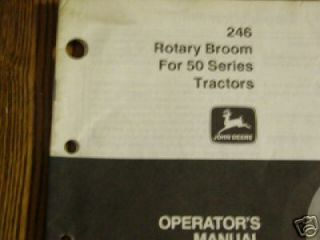 John Deere 246 Rotary Broom OMM73990 Operator manual book 650,750