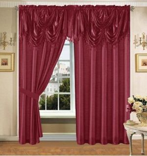 Luxury Burgundy Faux Silk Panel Valance Curtain Drapes Window Set New