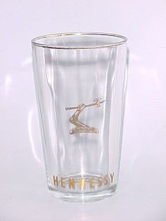 VINTAGE! Hennessy Cognac Golden Axe Logo gold rimmed glass mug