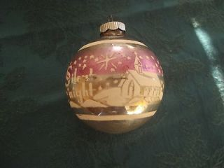 SHINY BRITE SILENT NIGHT CHRISTMAS ORNAMENT CHURCH VINTAGE STENCIL