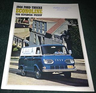 1966 Ford Econoline Van and Econoline Pickup Truck Brochure  Nice !!
