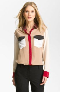 NEW Equipment Signature Isabelle colorblock Silk Blouse Shirt camel XS