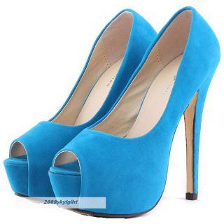 ollio Womens Stilettos Faux Suede Platforms Pumps High Heels Multi