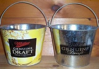 MILLER GENUINE DRAFT MGD 2 METAL BEER ICE BUCKET COOLERS NEW
