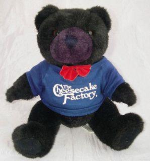 Plush Black Purple Teddy Bear Red Bow Tie Cheesecake Factory Shirt