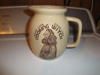 Vintage pottery pitcher Good Luck Kitchen Witch No Chips or Cracks