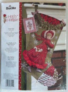 Bucilla Holly Hobbie Stocking Kit Holly Days Felt 86144 New Christmas