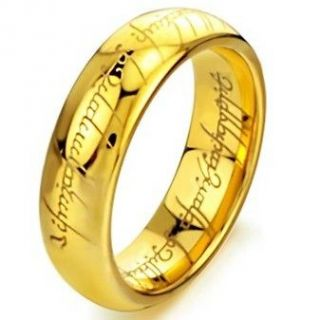 Tungsten Lord of the Rings The One Band Gold Plated Size 7 8 9 10 11