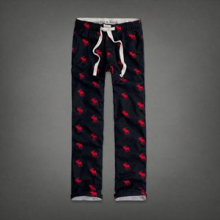 NWT ABERCROMBIE & FITCH BUCK POND SLEEP PANT LOUNGE PANTS NAVY MOOSE