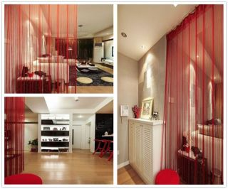 bright red curtains