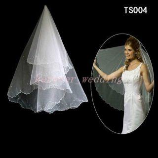 New Ivory/White Fingertip Wedding Veil Bridal Accessories Beaded Veil
