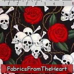Skulls Bones Roses Thorns on Black By YARDS ALexander Henry Cotton
