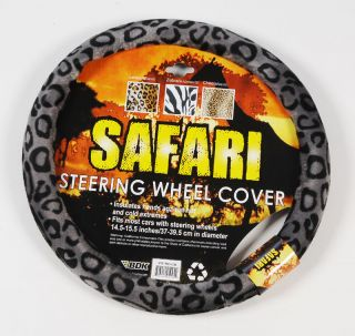 Grey Animal Print Car Steering Wheel Cover 15 Wheel Size Rubber
